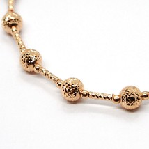 18K ROSE GOLD BRACELET FINELY WORKED 5 MM BALL SPHERE AND TUBE LINK 7.5 INCHES image 2