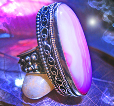 Haunted ring OONAGH FAIRY QUEEN SPIRIT VESSEL MAGICK 925 RUBY ZOISITE Ca... - $97.77