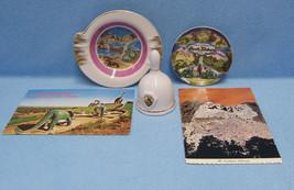 Vintage South Dakota Souvenirs Bell Small Plate Ash Tray & 2 Postcards L... - $15.83