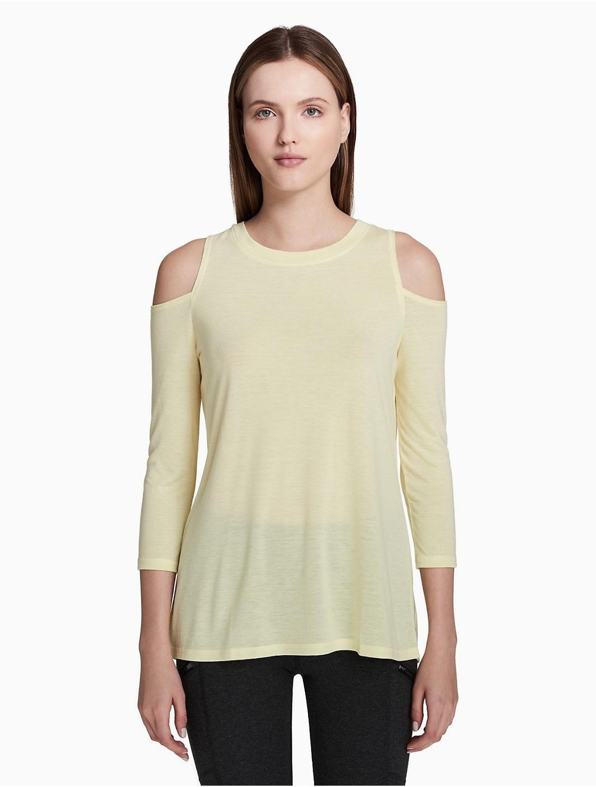 Calvin Klein Performance Cold-Shoulder Tie-Back Top PF8T2828 Grey Citrus Yellow image 3