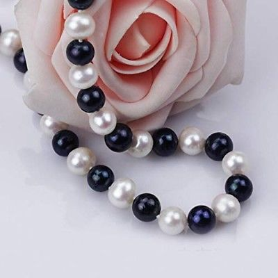 Hexi 8mm White And Black Freshwater Pearl Necklace