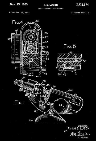 Primary image for 1955 - Lens Testing Instrument - Eye Clinic - Optometrist - Patent Art Poster