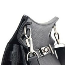 HERMES Taurillon Clemence Jypsiere 28 Black O Carved seal Shoulder Bag Silver  image 9