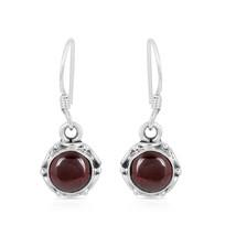 Red Garnet Earring, 925 Silver Earring, Round Shape, Gemstone Dangle Ear... - $14.99