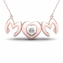 IGI Certified 10K Rose Gold 0.01ct TDW Diamond MOM Heart Solitaire Necklace - $179.99