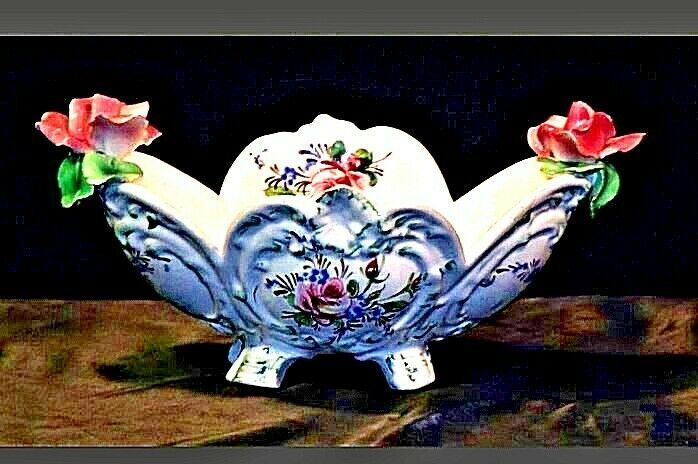Vintage ceramic bowl with floral design Italy M-707 AA19-1405