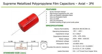 JPX Supreme Film Capacitors for Audio 4.7uF 250VDC 2 pcs ultra low loss   !