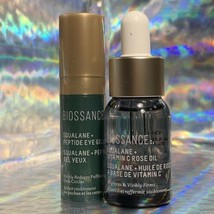 Biossance Squalane + Vitamin C Rose Oil 12mL & 4mL Peptide Eye