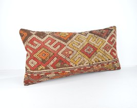 similar kilim pillow lumbar kilim cushion lumbar  pillows size 12x24 inch - $18.00