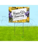 HAPPY 50TH ANNIVERSARY 18x24 Yard Sign WITH STAKE Corrugated Bandit USA ... - $25.64+