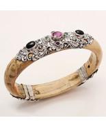 925 Sterling Silver Emerald Ruby Sapphire White Rose Wood Bangle Bracele... - $101.59