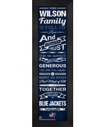 "Personalized Columbus Blue Jackets ""Family Cheer"" 24 x 8 Framed Print - $39.95"