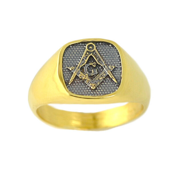 Gold plated / Black free mason MASONIC RING Freemasonry Jewelry Pick your size