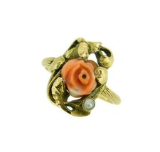 10k Yellow Gold Art Nouveau Coral Ring with Rose Leaves and Pearl (#J4551) - $425.00