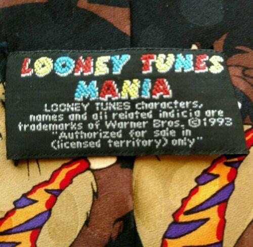 Vintage TAZ Looney Tunes Mania Mens Silk Tie Warner Brothers Tasmanian Devil