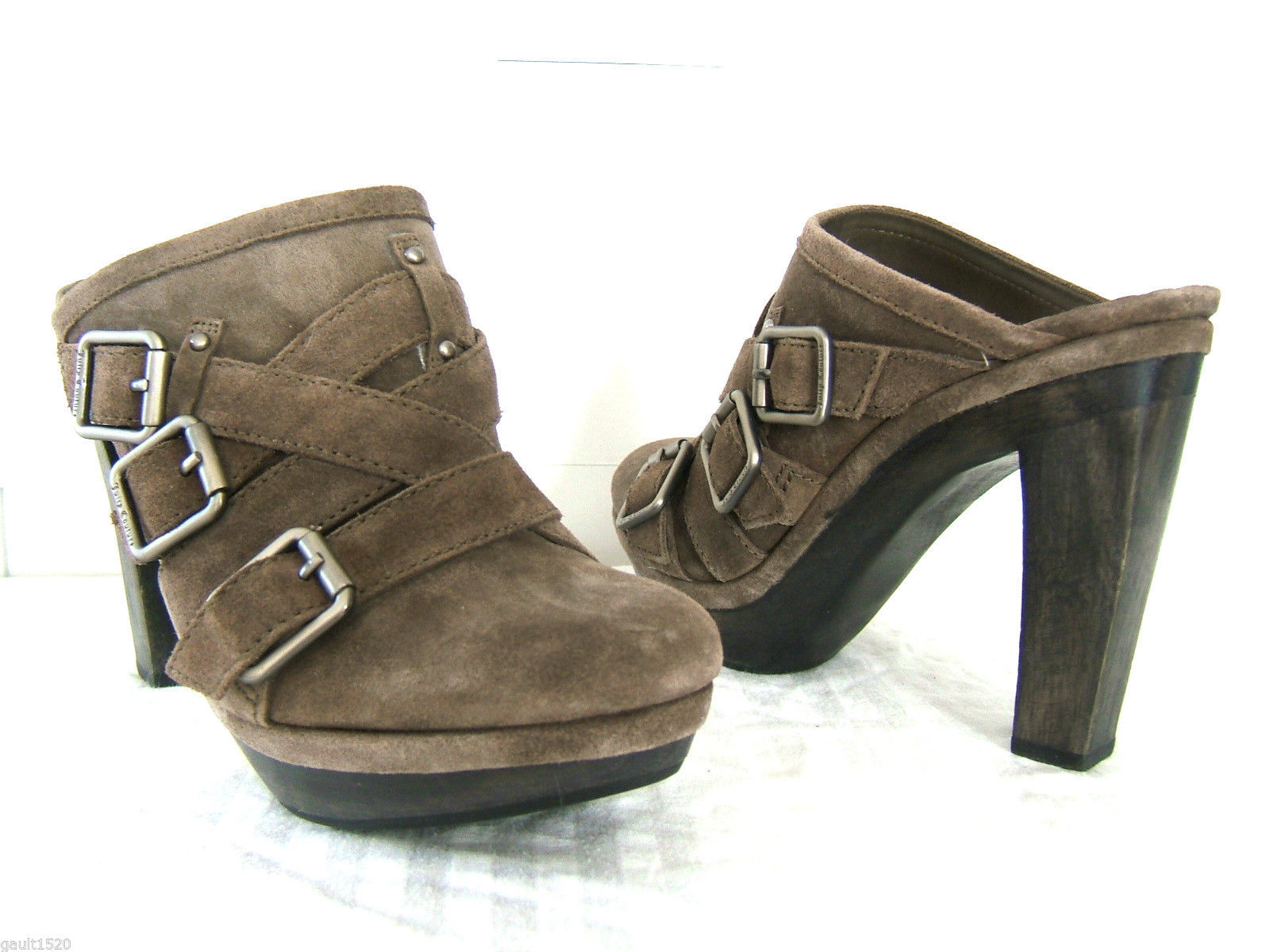 7696244c38902 NEW Juicy Couture Suede Brown Leather Colette Sexy Heels Shoes Mules 8.5 M   225 -  148.00