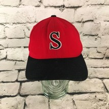 S Monogrammed Mens Sz Xs/S Hat Red Black 2-Tone ProWool Flexfit Fitted B... - $11.88