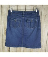 Christopher Banks Denim Skirt Womens Size 12 Petite Flap Pockets Distressed - $16.83