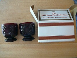 """NIB (SET/2) Avon 1876 Cape Cod Collection Ruby Red Footed Glass Set 4"""" - $6.79"""
