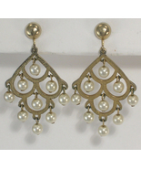 Clip On Earrings Chandelier Imitation Pearls & ... - $13.75