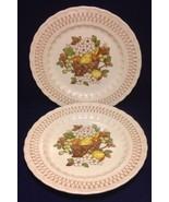 2 Metlox Vernon Ware Fruit Basket Dinner Plates Made in California Vtg - $14.84