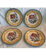 Floral Salad Plates Pier 1 PROVANCE Set of 4 Stoneware NEVER Used Yellow... - $37.99
