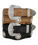 The Fort Worth - Western Berry Conchos Genuine Leather Scalloped Belt, 1... - $44.95