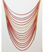 Apt 9 Chain Swag Multi Strand Multi Color Gold Tone Necklace - $17.80