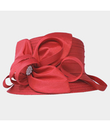 Ginga's Galleria Red Bow Accented Flower Dressy Derby Hat - $45.00