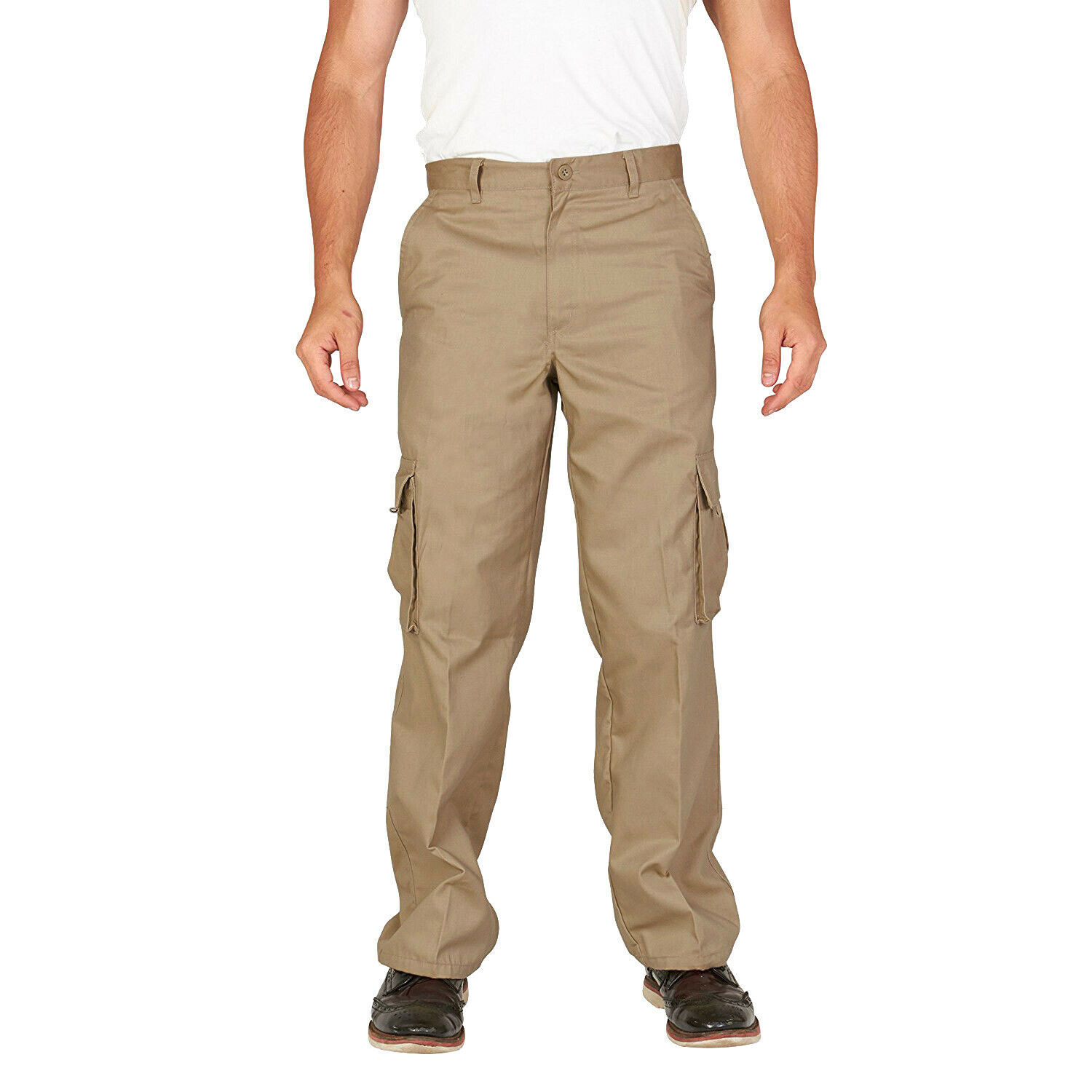 Men's Classic Slim Fit Casual Military Army Twill Trousers Work Cargo Pants