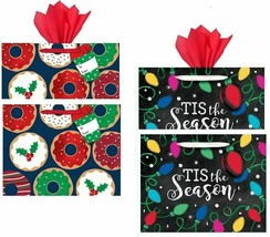 Holiday Bags with Tissue Paper, 2 Styles Paper Kraft Bags Party Supplies... - $10.84