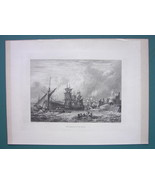ENGLAND Mouth of River Yare Merchant Sailships - 1887 Steel Engraving - $11.10