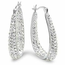 Hoop Earrings Made with Swarovski Crystal Elements White Gold Plated Jew... - $23.28
