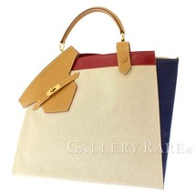 HERMES Himalaya Toile H Box Calf Leather Natural Handbag #C Authentic 5522873 - $3,472.36