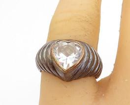 925 Silver & 14K GOLD - Vintage Cubic Zirconia Love Heart Ring Sz 7.5 - R17713 - $29.28