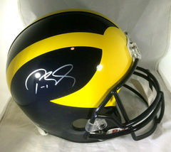 TOM BRADY / AUTOGRAPHED MICHIGAN WOLVERINES RIDDELL FULL SIZE HELMET / TRISTAR