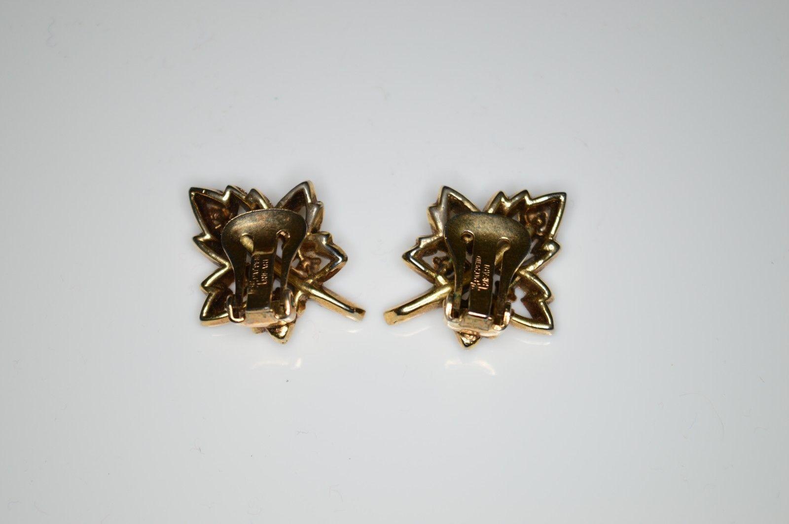 VTG 1950'S TRIFARI PAT PEND Alfred Philippe Maple Leaf Clear Rhinestone Earrings