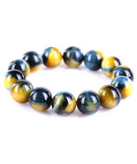 Top Quality Natural Gold Blue Tiger Eye Yellow Gemstone Round Beads 16mm... - $99.24