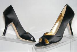 "Enzo Angiolini 'Magnify' black satin peep toe cross strap pump 4"" heel s... - $9.04"