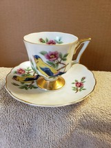 Enesco Porcelain Tea Cup and Saucer Set Warbler Song Bird Made In Japan - $19.80