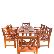 Malibu Eco-Friendly 7-Piece Wood Outdoor Dining Set with X-back Arm Chai... - $947.84
