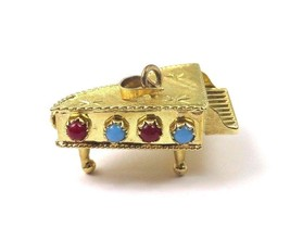 14k Yellow Gold Vintage 3D Grand Piano Charm Pendant With Color Stones - $350.63