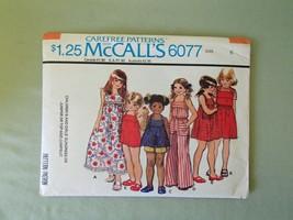 McCall's 6077 Girl's Sundress, Jumper, Top & Jumpsuit Pattern - Size 6 C... - $5.89