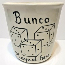 "Bunco Played Here Ceramic Canister Container Decorative 6"" x 5.5"" - $12.60"