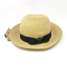 CC Brand Womens Woven Tan Natural Cloche Bucket Hat Black Bow Band UV Pr... - $19.34