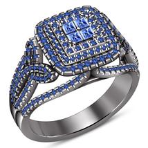 Princess Cut Blue Sapphire Black Gold Finish 925 Silver Womens Engagement Ring - $91.48