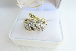 Vintage Rhinestone Cocktail Ring Wrap Around Look Costume Jewelry Size 7 - $12.59