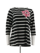 Bob Mackie Floral Applique Jewel Striped Top 3/4 Sleeve Black XL NEW A22... - $23.74