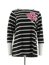 Bob Mackie Floral Applique Jewel Striped Top 3/4 Sleeve Black XL NEW A22... - £19.04 GBP