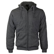 vkwear Men's Athletic Soft Sherpa Lined Fleece Zip Up Hoodie Sweater Jacket (XL,